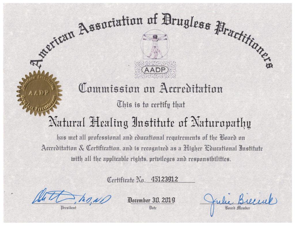 Certificate of Accreditation AADP